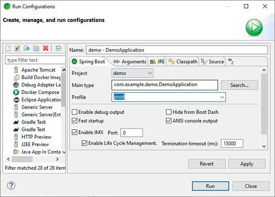 The profiles can be selected and adapted in the Run Configurations.
